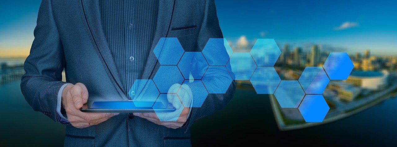 businessman, tablet, control