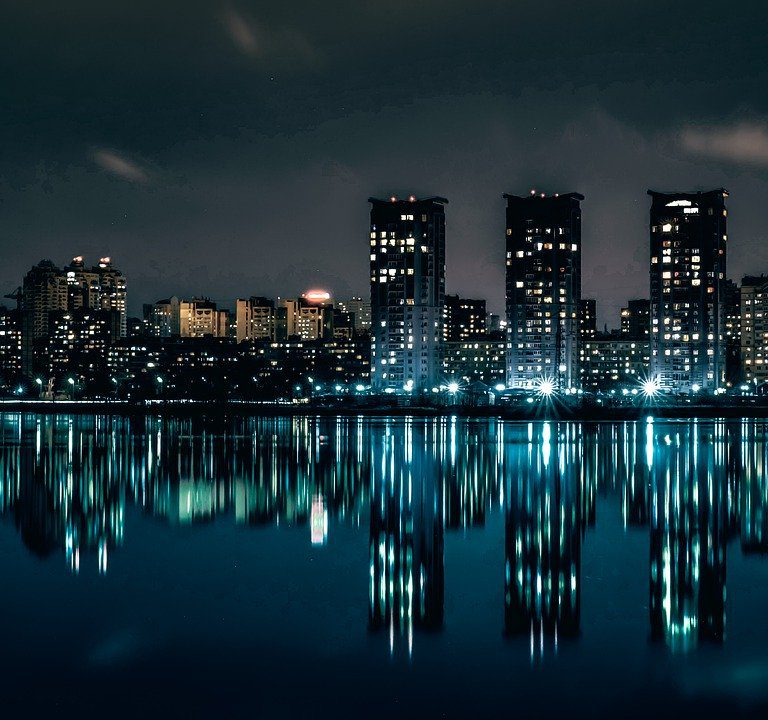 city, night, the architecture